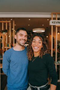 Cédric Beaucherel et Mélissa Barru, gérants du salon de coiffure Hän à Rennes.